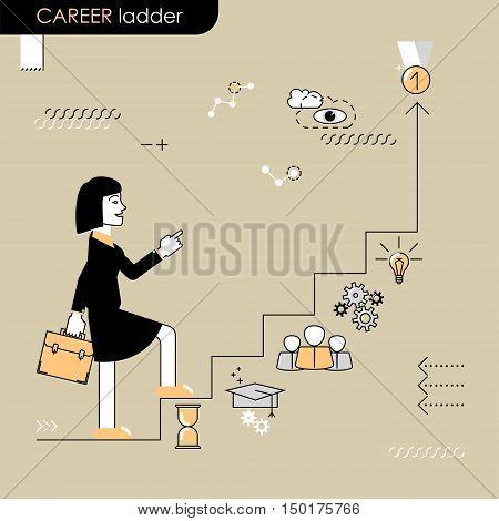 Career ladder. Business woman walking on the career ladder. Vector flat line