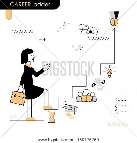 Career ladder. Business woman walking on the career ladder. Vector flat line on a white background
