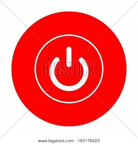On Off Switch Sign. White Icon On Red Circle.