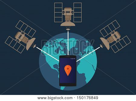 GPS global positioning system satellite phone location tracking how method technical vector