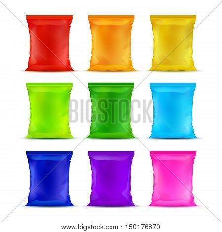 Vector Set of Colored Red Orange Yellow Light Green Light Blue Purple Pink Vertical Sealed Plastic Foil Chips Bags for Package Design with Smooth Edges Close up Isolated on White Background.
