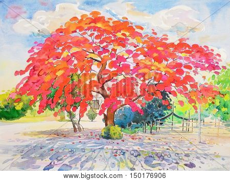 Painting watercolor landscape original colorful of peacock flower tree and emotion in blue with cloud in the sky background
