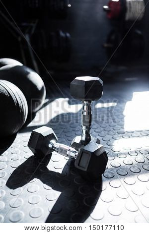 Dumbbells on floor in gym