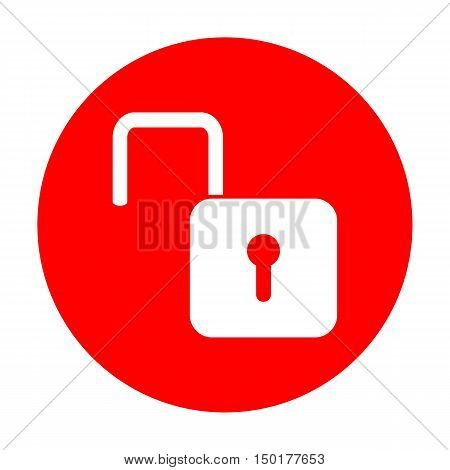 Unlock Sign Illustration. White Icon On Red Circle.