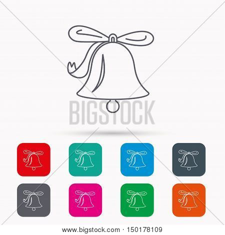 Ringing jingle bell icon. Sound sign. Alarm handbell symbol. Linear icons in squares on white background. Flat web symbols. Vector