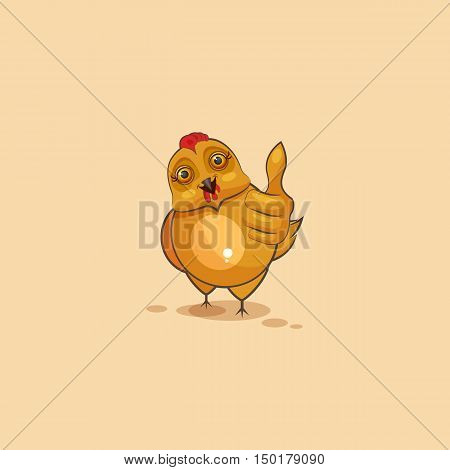 Vector Stock Illustration isolated Emoji character cartoon Hen approves with thumb up sticker emoticon for site, infographics, video, animation, websites, e-mails, newsletters, reports, comics