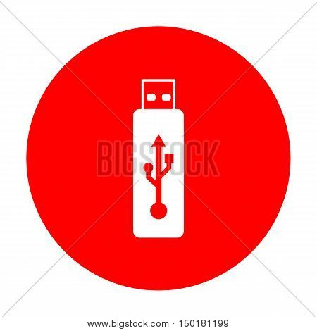 Vector Usb Flash Drive Sign. White Icon On Red Circle.