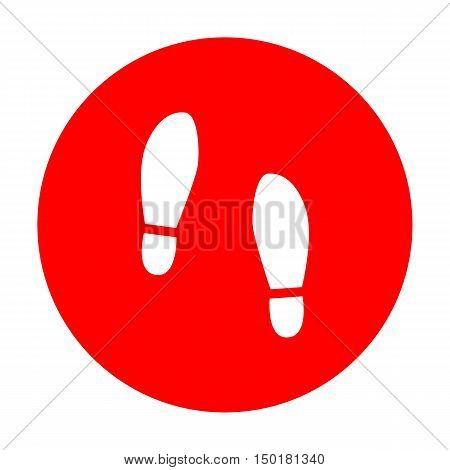 Imprint Soles Shoes Sign. White Icon On Red Circle.