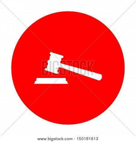 Justice Hammer Sign. White Icon On Red Circle.