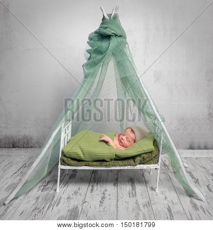 newborn baby in hat covered with green blanket sleeping on little bed with canopy