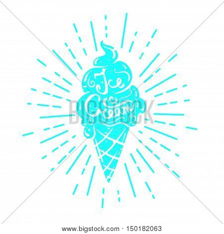 Hand drawn textured label, ice cream vector illustration and