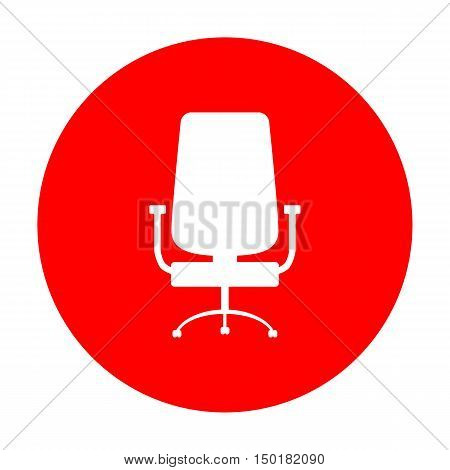Office Chair Sign. White Icon On Red Circle.
