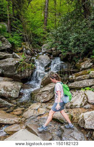 Precarious Woman On Creek Crossing in Smokies