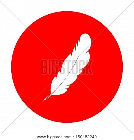 Feather Sign Illustration. White Icon On Red Circle.