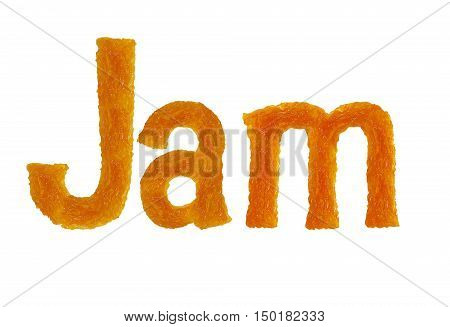 Apricot jam word jam isolated on white background