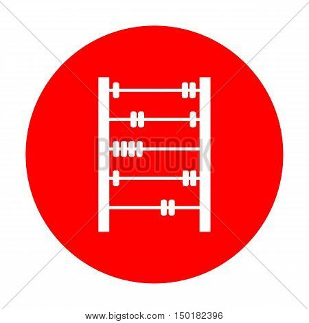 Retro Abacus Sign. White Icon On Red Circle.