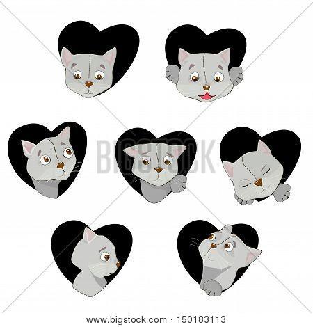 Seven Cute Feline Muzzles In Cartoon Style