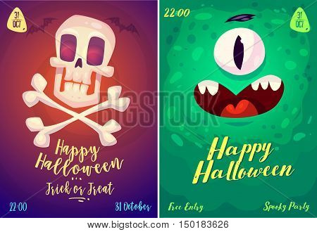 Halloween illustration monster and skull and crossbones . Vector set of happy halloween vintage badges, logos emblems and labels. Vector stock illustration.