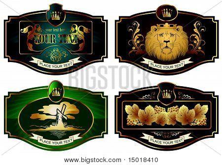 Gold-gerahmte Etiketten zu verschiedenen Themen