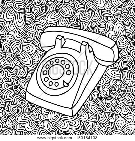 Hand drawing old phone. Vintage telephone illustration in vector on the artistic background.