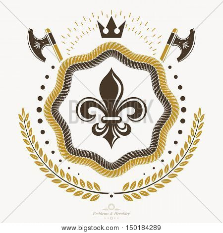 Vintage royal simple emblem vector heraldic design in gold.