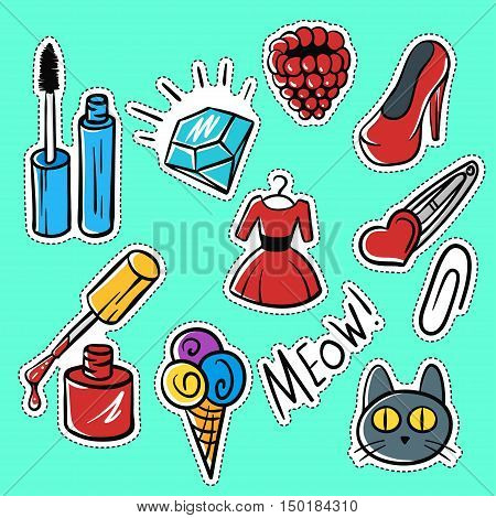 Vector set of fashionable patches:brilliant, raspberries, cat, shoes . Modern doodle pop art sketch pins and badges. Hand drawn cute and funny fashion stickers kit. Isolated on green background.