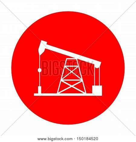 Oil Drilling Rig Sign. White Icon On Red Circle.