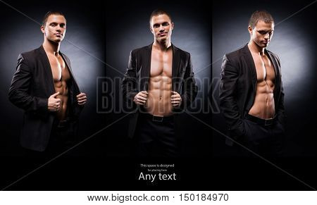 Strong, fit and sporty stripper man over black background. Set collection.