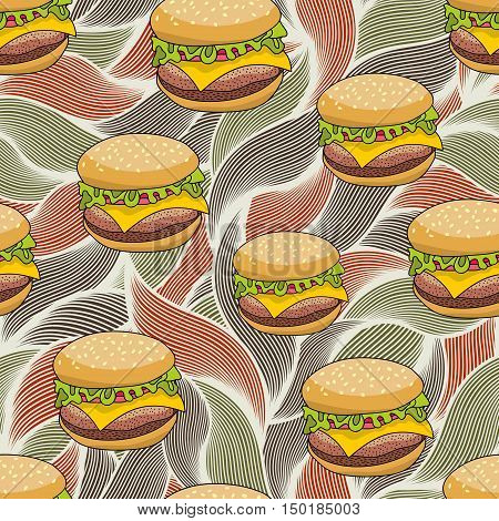 Seamless pattern with doodle hamburger on the artistic background. Endless burger illustration in vector.