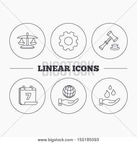 Save nature, auction and scales of justice icons. Save planet linear sign. Flat cogwheel and calendar symbols. Linear icons in circle buttons. Vector