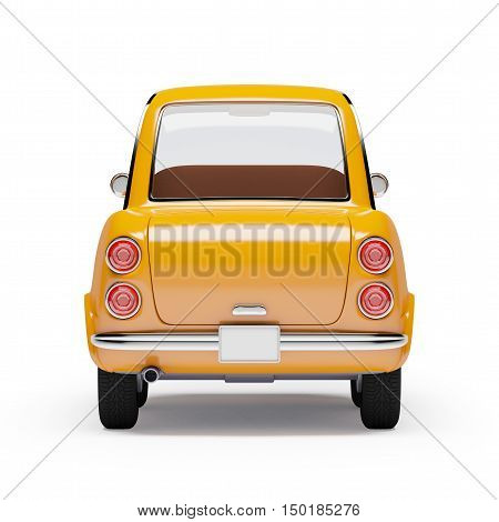 retro car orange in 60s style isolated on a white background. Back view. 3d illustration.