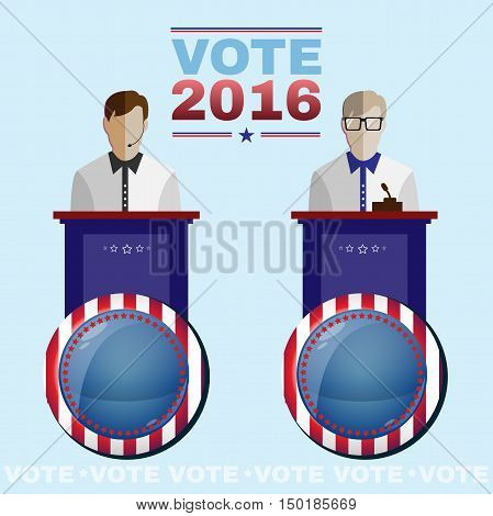 Digital vector usa election with candidate tribune, republican or democrat, flat style