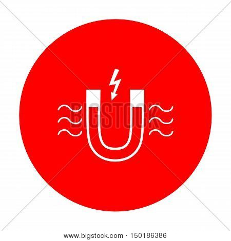 Magnet With Magnetic Force Indication. White Icon On Red Circle.