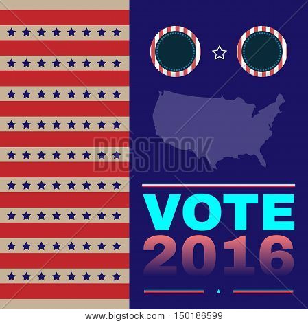 Digital vector usa election with presidential debates, democrat and republican, flat style