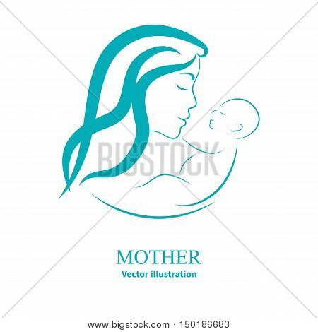 Vector illustration sketch mother with a small baby. Logo mom and newborn baby on an isolated white background. Doodle hand-drawn line drawing. Woman holding infant. Side view of the profile.