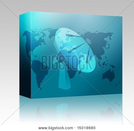 Software package box Satellite dish clipart illustrating advanced tele communications