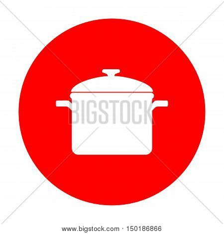 Cooking Pan Sign. White Icon On Red Circle.