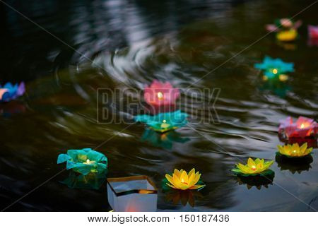 Paper flower lanterns in water at floating lantern festival