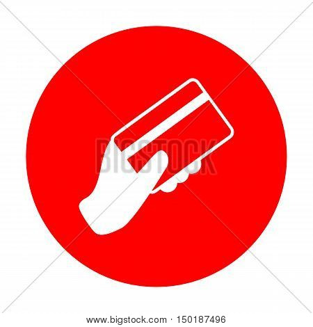 Hand Holding A Credit Card. White Icon On Red Circle.