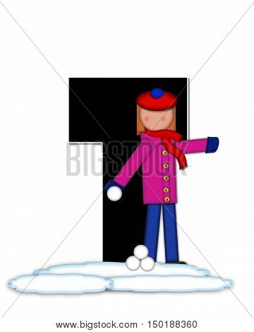 Alphabet Children Snow Fight T