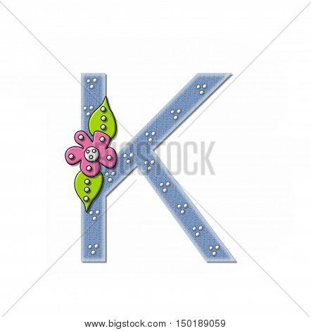 Alphabet Denim And Flowers K