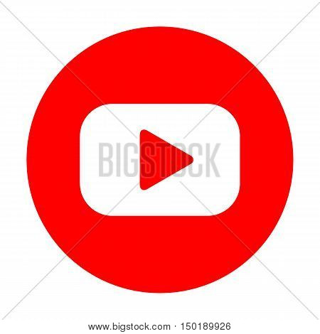 Play Button Sign. White Icon On Red Circle.