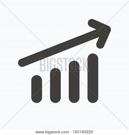 Growing graph icon. Business analytics chart symbol. Gray flat web icon on white background. Vector