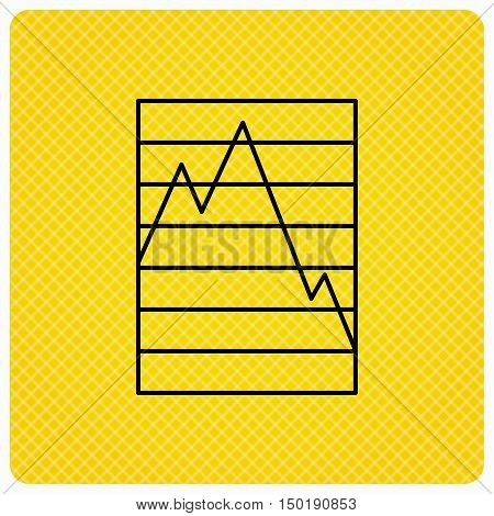 Chart curve icon. Graph diagram sign. Demand reduction symbol. Linear icon on orange background. Vector