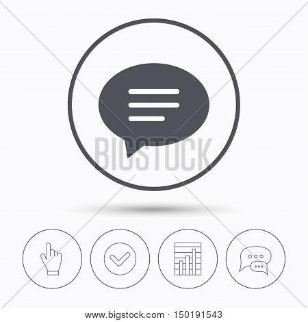 Speech bubble icon. Chat symbol. Chat speech bubbles. Check tick, report chart and hand click. Linear icons. Vector