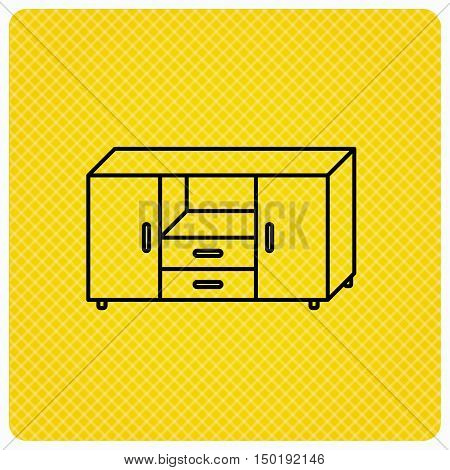 Chest of drawers icon. Interior commode sign. Linear icon on orange background. Vector