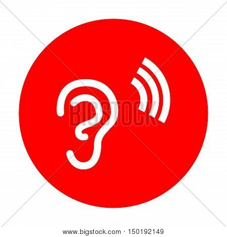 Human Ear Sign. White Icon On Red Circle.