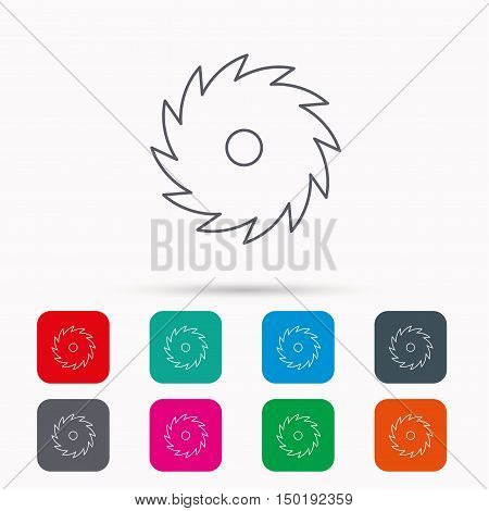 Circular saw icon. Cutting disk sign. Woodworking sawblade symbol. Linear icons in squares on white background. Flat web symbols. Vector