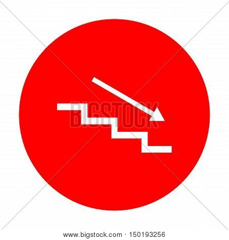 Stair Down With Arrow. White Icon On Red Circle.
