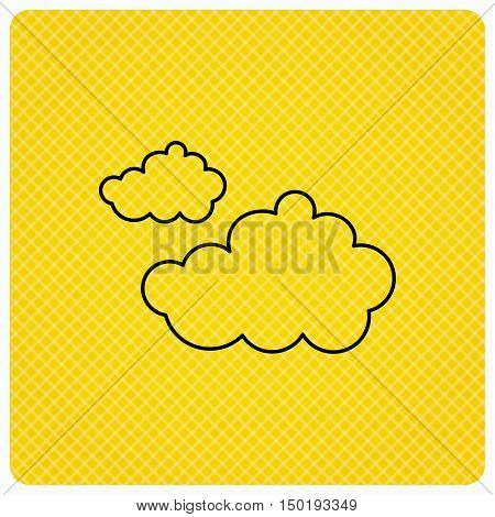 Cloudy icon. Overcast weather sign. Meteorology symbol. Linear icon on orange background. Vector